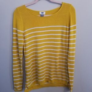 Old navy  mustard yellow and white striped sweater